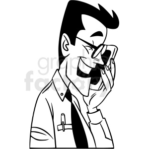 black and white guy laughing at his phone vector clipart