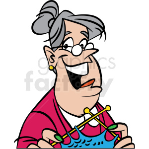 cartoon happy lady knitting vector clipart clipart. Royalty-free image # 413106