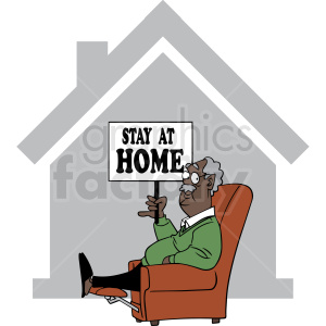 african american grandpa stay at home quarantined cartoon vector clipart