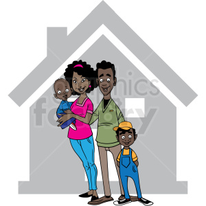 african american family quarantined cartoon vector clipart clipart. Royalty-free image # 413146