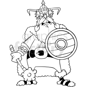 black and white cartoon viking vector clipart