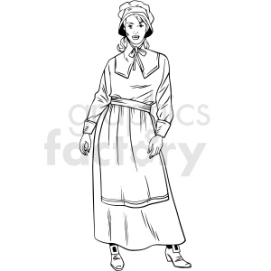 black and white realistic female pilgrim vector clipart clipart. Commercial use image # 413185