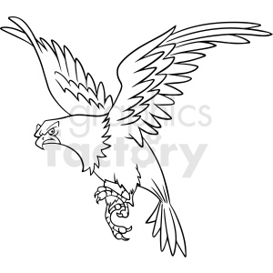 black and white cartoon eagle flying vector clipart