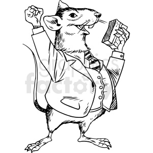 black and white rat wearing suit and eating cake vector clipart