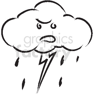 black and white tattoo thunder cloud vector clipart clipart. Commercial use image # 413339