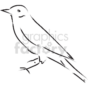 black and white small bird vector clipart clipart. Commercial use image # 413343