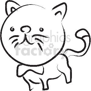 black and white cat vector clipart clipart. Royalty-free image # 413379