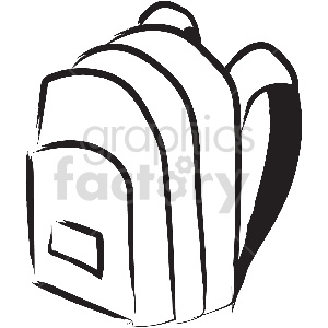 black and white backpack vector clipart