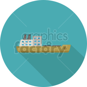 cargo ship vector icon on circle background