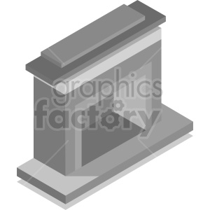 isometric fireplace mantel vector icon clipart 2