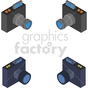 isometric camera bundle vector icon clipart clipart. Commercial use image # 414143