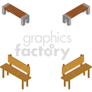 isometric bench vector icon clipart bundle clipart. Commercial use image # 414188