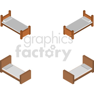 isometric bed vector icon clipart 2