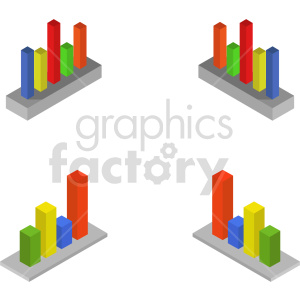 isometric bar charts vector icon clipart 3 clipart. Commercial use image # 414320