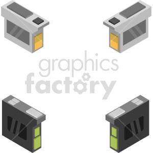 isometric ink cartridge vector icon clipart bundle