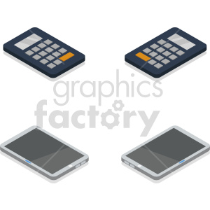 isometric calculator device set vector clipart
