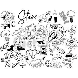 black and white STEM doodle page vector clipart clipart. Commercial use image # 414652