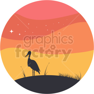 stork sunrise vector clipart icon clipart. Commercial use image # 414741