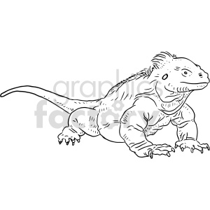 iguana black and white clipart clipart. Commercial use image # 414761