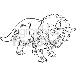 triceratops black and white clipart