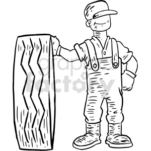 tire technician man black and white clipart clipart. Commercial use image # 414779