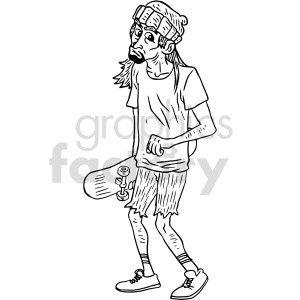 skater bum black and white clipart clipart. Commercial use image # 414781