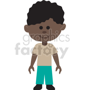 african american boy standing vector clipart clipart. Commercial use image # 414868