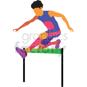 man running Olympic hurdles vector design clipart. Commercial use image # 414925
