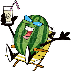 cartoon watermelon sitting in lounge chair clipart clipart. Commercial use image # 414976