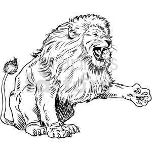 lion black and white clipart clipart. Commercial use image # 415042