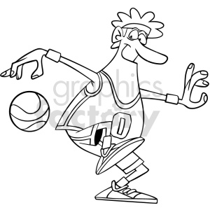 cartoon basketball player dribbling clipart black and white clipart. Commercial use image # 415083
