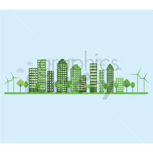 eco friendly city illustration royalty free vector clipart. Commercial use image # 415646
