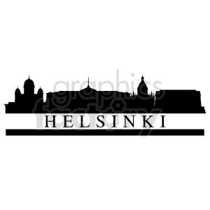 clipart - Helsinki skyline with title vector clipart.