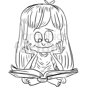 clipart - girl reading book graphic.