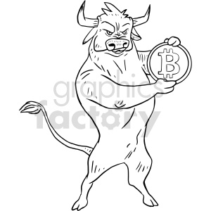 clipart - bull holding bitcoin vector graphic.