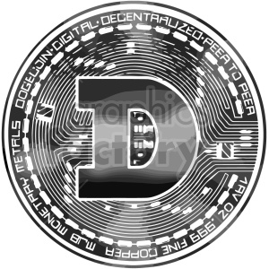 black and white dogecoin vector graphic clipart. Commercial use image # 416693
