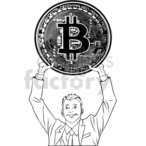 black and white man holding large bitcoin vector clipart clipart. Commercial use image # 416708