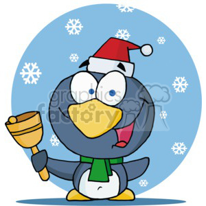 A penguin ringing a christmas bell in a santa hat