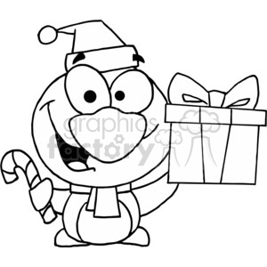 penguin holding a present and a candy cane clipart. Commercial use image # 377831