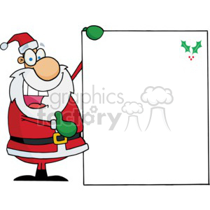 Santa holding a black white board
