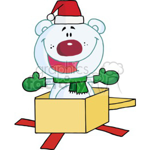 a polar bear dressed for winter jumping out of a christmas persent clipart. Commercial use image # 377839