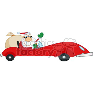 Santa Claus in a red sports car with a bag of gifts clipart. Commercial use image # 377843