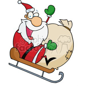 cartoon Santa riding a sled down a hill