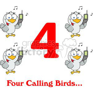 On the 4th day of Christmas my true love gave to me Four Calling Birds clipart. Royalty-free image # 377877