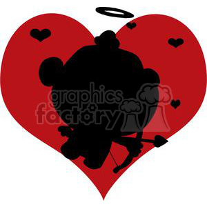 Black Silhouette Of A Cupid with Bow and Arrow In A Dark Red Hearts clipart. Commercial use image # 377901
