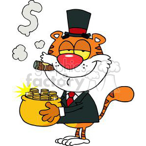 Happy Tiger With Pot Of Gold clipart. Royalty-free image # 377906