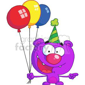 Purple bear wearing a green striped hat holding Three colorful birthday balloons clipart. Commercial use image # 377911
