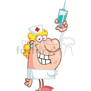 Nurse in white with a Big Syringe clipart. Commercial use image # 377921