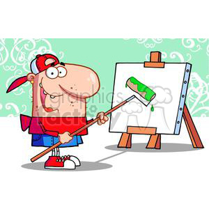 Artist Uses Roller on Canvas clipart. Commercial use image # 377946
