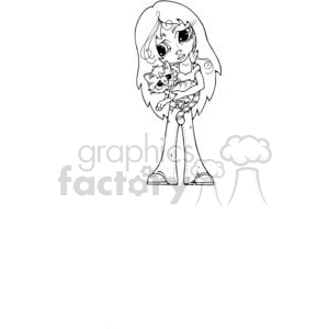 BigEyed-Girl-w-kitty clipart. Commercial use image # 380215